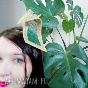 ozdoby do włosów zielony liść, fascynator, zielony, sinamay