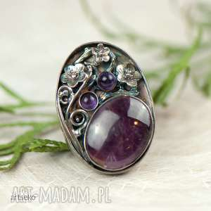 rubin w kwiatach pierścionek srebrny a597, srebrny, rubinem