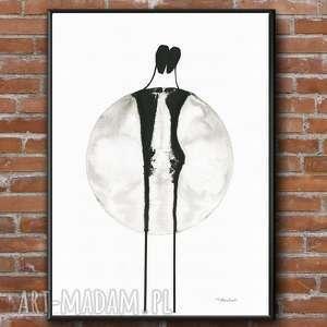 ręcznie malowany, abstrakcja minimalizm, plakat a3, grafika do sypialni, salon