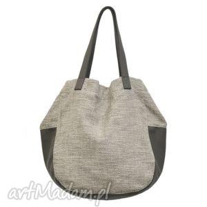 24-0028 kremowo-złota torebka damska worek / torba na studia swallow, duże, modne