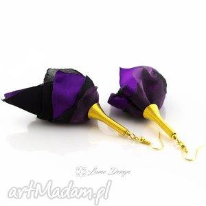 kolczyki silk duże fioletowe, długie, lekkie, materiałowe, eleganckie