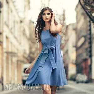 letnia sukienka wiązana z imitacji lnu, t280, jasnoniebieski, letnia