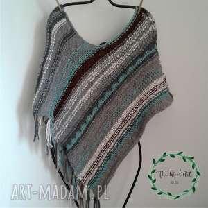 ponczo boho-chic, ponczo, boho, wełniane, na drutach, ubrania wierzchnie