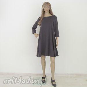 7 - sukienka ciemno szary melanż, sukienka, sukienki, rozkloszowana, trapez, mini