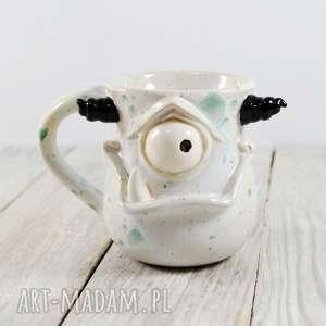kubek ceramiczny stworek, potworek, kawa, herbata, prezent, dla dziecka, praca