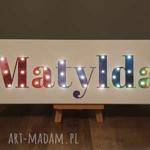 dekoracje napis led twoje imię personalizowany prezent obraz tęcza lampa