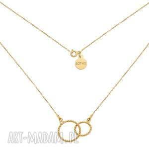 sotho złoty naszyjnik z dwoma obręczami - minimalistyczny, kółka