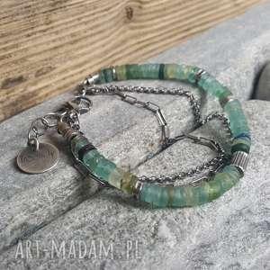bransoletka srebrna z antycznym szkłem afgańskim, srebro, modna