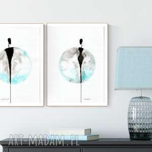 zestaw 2 grafik 30X40 cm wykonanych ręcznie, turkusowy minimalizm, abstrakcja
