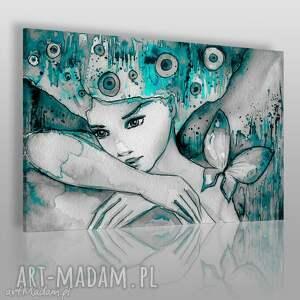 obraz na płótnie - kobieta motyl 120x80 cm 22703, kobieta, motyl, romantyczny