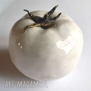 Biały, ceramiczny pomidor dekoracje unikaty sita ceramika