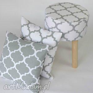 Poduszka biało-szara koniczyna, poduszka, tekstylia, dekoracje, pokój, mieszkanie