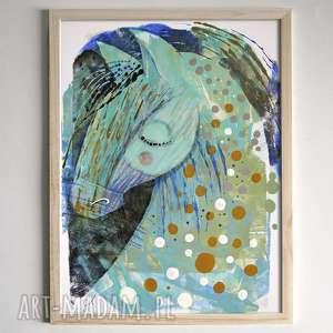 ręcznie malowany konik - farby, kredki, papier, koń, konik, kucyk, obrazek