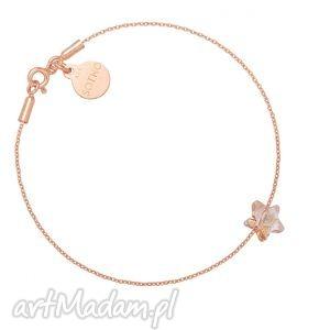 handmade bransoletka z różowego złota ze złotą kryształową gwiazdką swarovski®