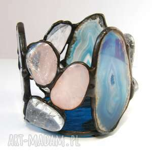 romantyczny świecznik niebieski z kryształami, witrażowy