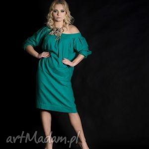 lniana zielona tunika, len, eko, moda,