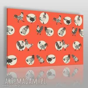 obraz na płótnie - koguty czerwony 120x80 cm 68001, kogut, koguty, folklor, folk