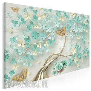obraz na płótnie - drzewo turkusowy złoty kwiaty 120x80 cm 98801