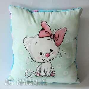 Poduszka duża - Słodka kicia, kotek, dziewczynka, poduszka, chrzest, roczek, urodziny