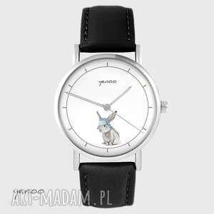 hand made zegarki zegarek yenoo - zając skórzany, czarny