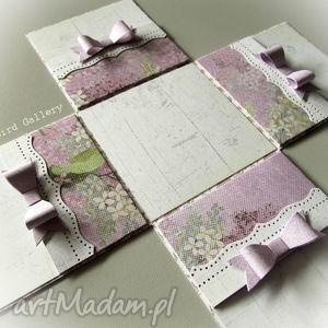 scrapbooking kartki nietypowa kartka - pudełko w fioletach, prezent, pudełko