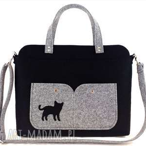Black laptop bag with cat, torebka, kot, technika-szycie, laptop, filc
