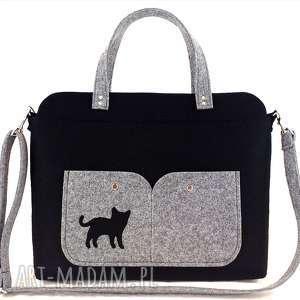 aneta pruchnik black laptop bag with cat, torebka, kot, technika-szycie, laptop, filc