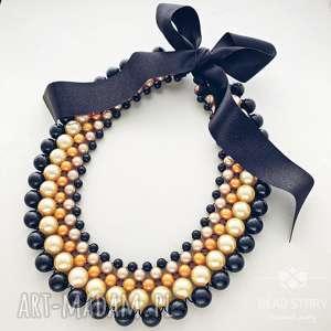 Weronika naszyjniki bead story kolia, korale, perełki, wstążka