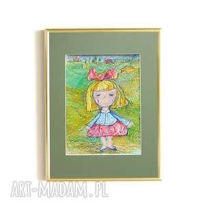 handmade pokoik dziecka obrazek z dziewczynką, do pokoju dziewczynki, rysunek dla