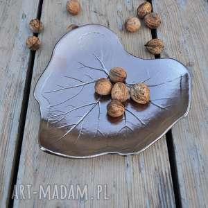 Patera dekoracyjna - liść ceramiczny ceramika tyka ceramika