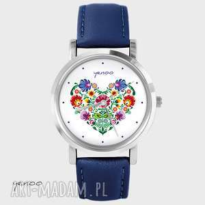 handmade zegarki zegarek, bransoletka - folkowe serce granatowy, skórzany