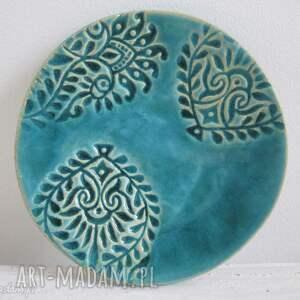 ceramika turkusowa fusetka, talerzyk, malutki, indyjski, turkusowy, ceramiczny
