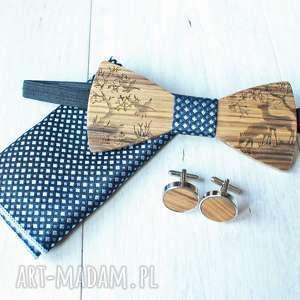 zestaw drewniana muszka poszetka spinki forest niebieska, drewniane, mucha