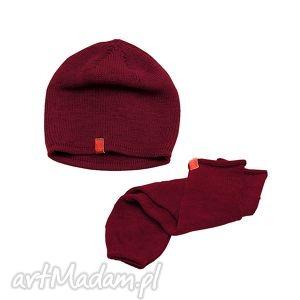 Czapka rękawki getry burgund czapki cadoaccessories rękawiczki
