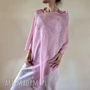 poncho elegancka narzutka w bladym różu, ponczo, narzutka, bluzka, tunika, len