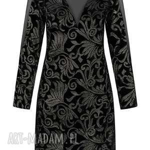 sukienka welurowa ze złotym haftem, czarna, elegancka - welur, elegancka, złoto