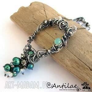Hamamelis - Akwamaryn, słodkowodne perły, piryt, naszyjnik, srebro