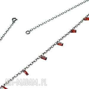 choker /cyrkonie - red magma/ naszyjnik, choker, delikatny, cyrkonie, srebro