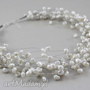 perły w oplocie - piękny naszyjnik - perły, naturalne, oplocie, naszyjnik