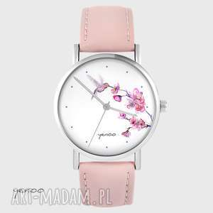 zegarki zegarek - koliber, oznaczenia pudrowy róż, skórzany