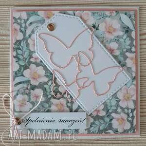 kwiatowa karta z motylami, dzień mamy, motyle, scrabooking, kwiaty oryginalny