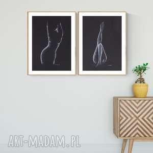 zestaw 2 obrazów A3 namalowanych ręcznie, minimalizm, abstrakcja