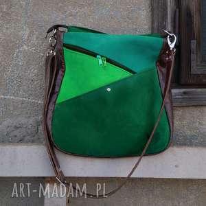 na ramię maryjanna skórzana torba odcienie zieleni, elfica, odcienie, zieleni