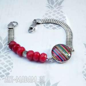 Prezent unikalna srebrna bransoleta z koralem i szkłem artystycznym, srebrna, srebro