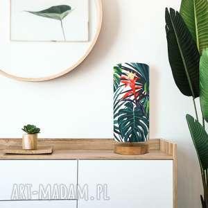 lampa stołowa drewniana czar tropików, dąb, bawełna, design, tropikalny, hit