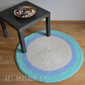 dywan okrągły ze sznurka - ecru-błękit -mięta 100 cm, dywan, do pokoju