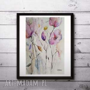 Akwarela-kwiaty format A4 cm, abstrakcja, kwiaty, akwarela