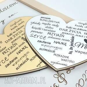 podziękowania dla rodziców z okazji ślubu, ślubne, ramka 3d, złote srebrne serce