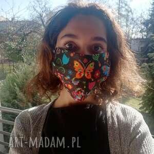maseczka, maska dwuwarstwowa ochronna do wielokrotnego użytku, motyw folkowy