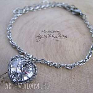 agata rozanska bransoletka serce swarovski, wire wrapping, bransoletka, swarovski